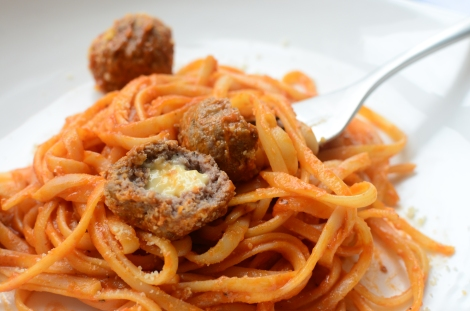 Party Meat Ball Pasta - cheesy