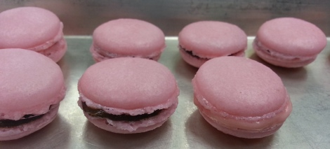Macaron after they were filled with ganache and straberry