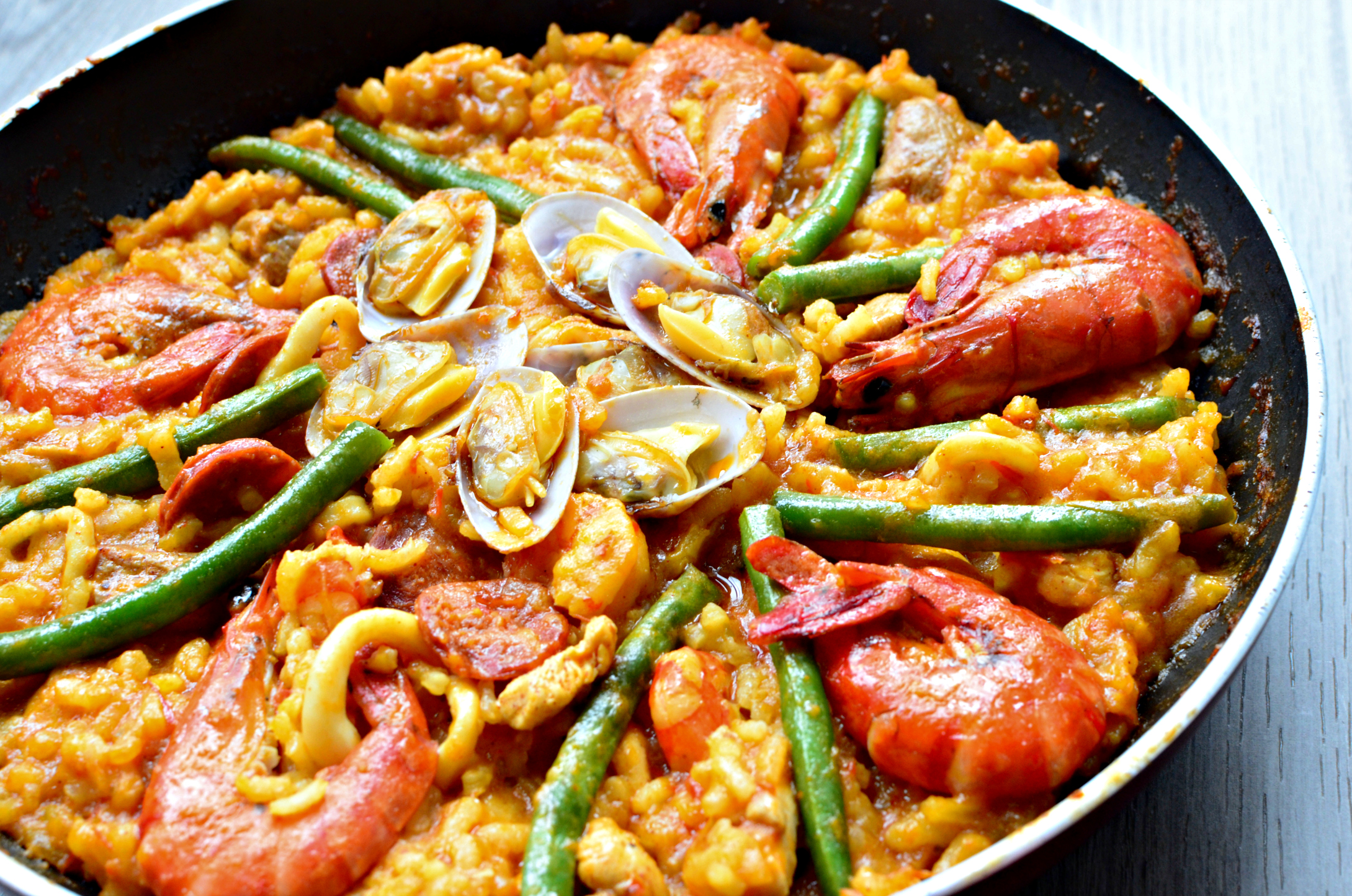 Try making Paella at home, it's so so so so good! My husband and I ...